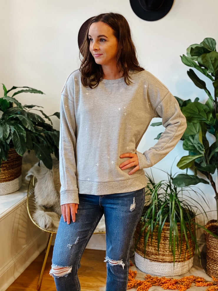 The Lilly Embroidered Sweatshirt (grey)