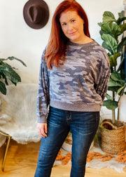 The Noa Camo Marled Top (onyx)