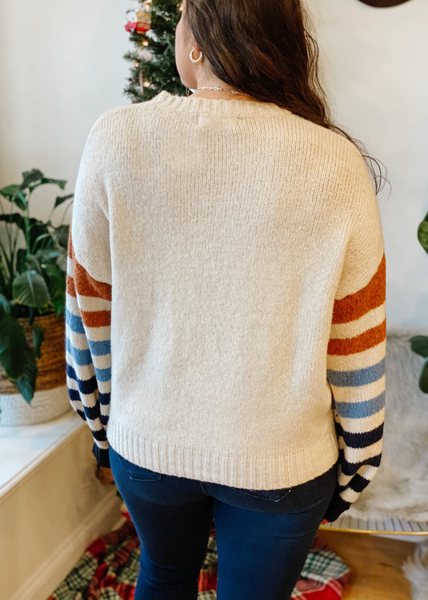 The Maren Stripe Sleeve Sweater
