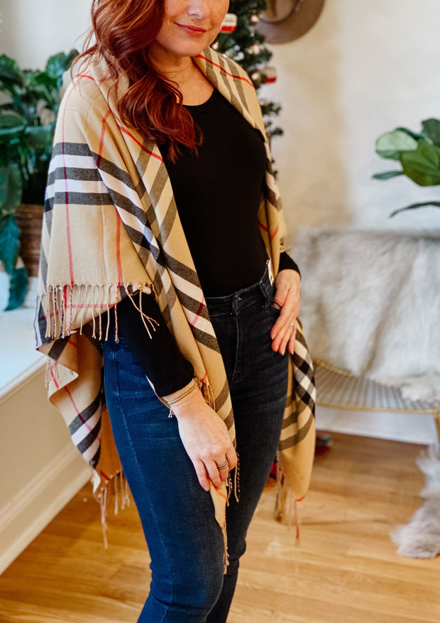 Classic British Plaid Oversized Scarf (taupe)