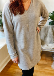 Fleecy Soft Ribbed Tunic Dress