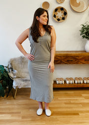 The Miley Slub Midi Dress (dusty sage)