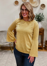 The Ribbed Bell Sleeve Top