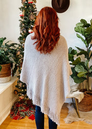 So Soft & Cozy Cute Fringe Poncho (grey)