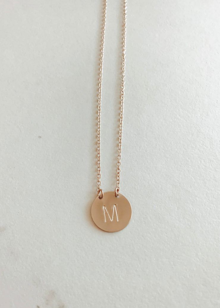 Single Letter Classic Coin Split Chain Necklace