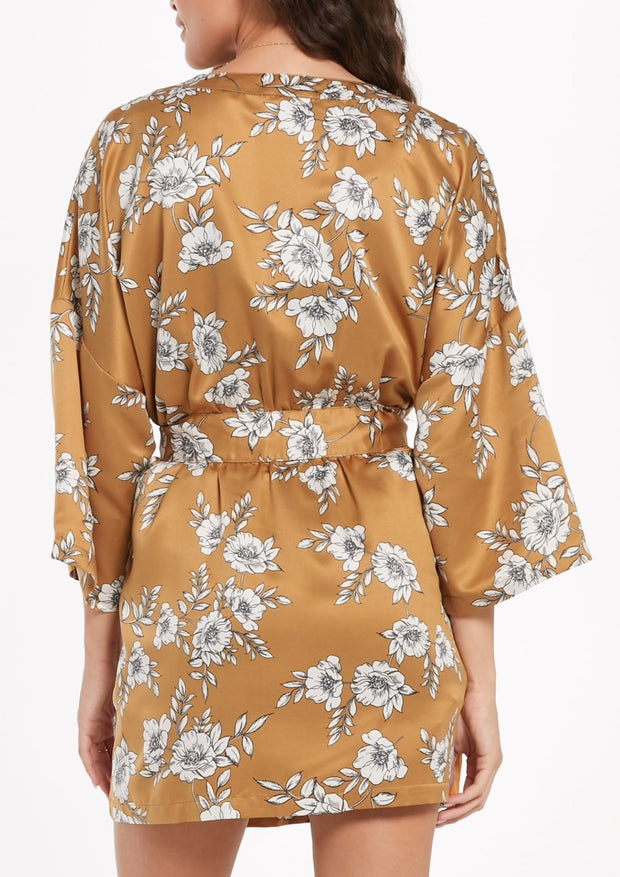 The Vacay Floral Satin Robe