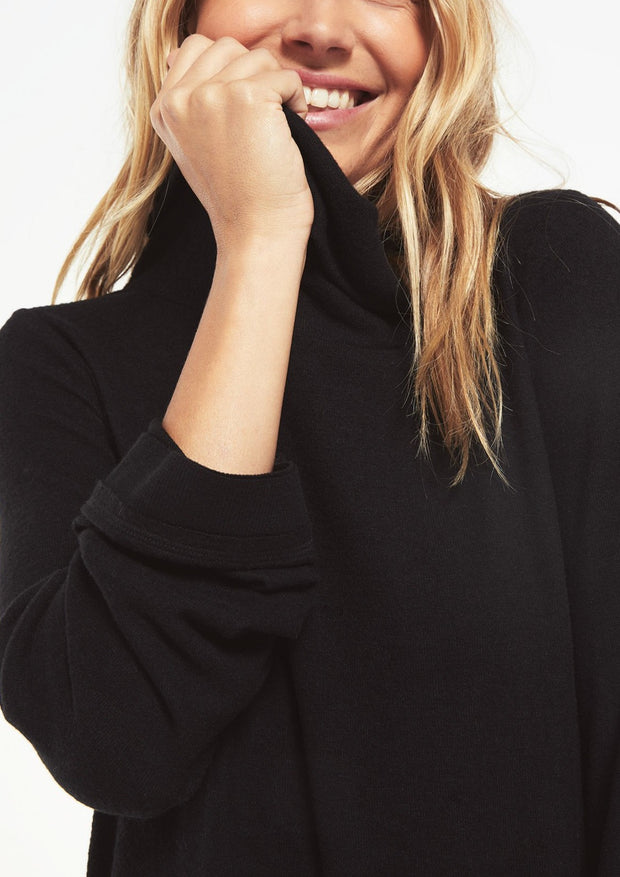 The Ali Cowl Slub Sweater (black)