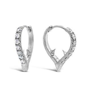 18k White Gold Small Thorn Huggies