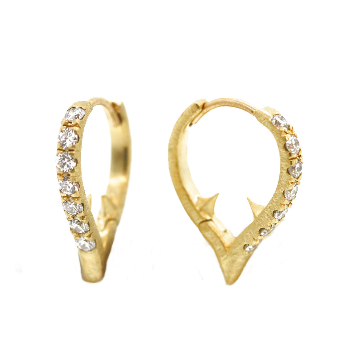 18k Yellow Gold Small Thorn Huggies