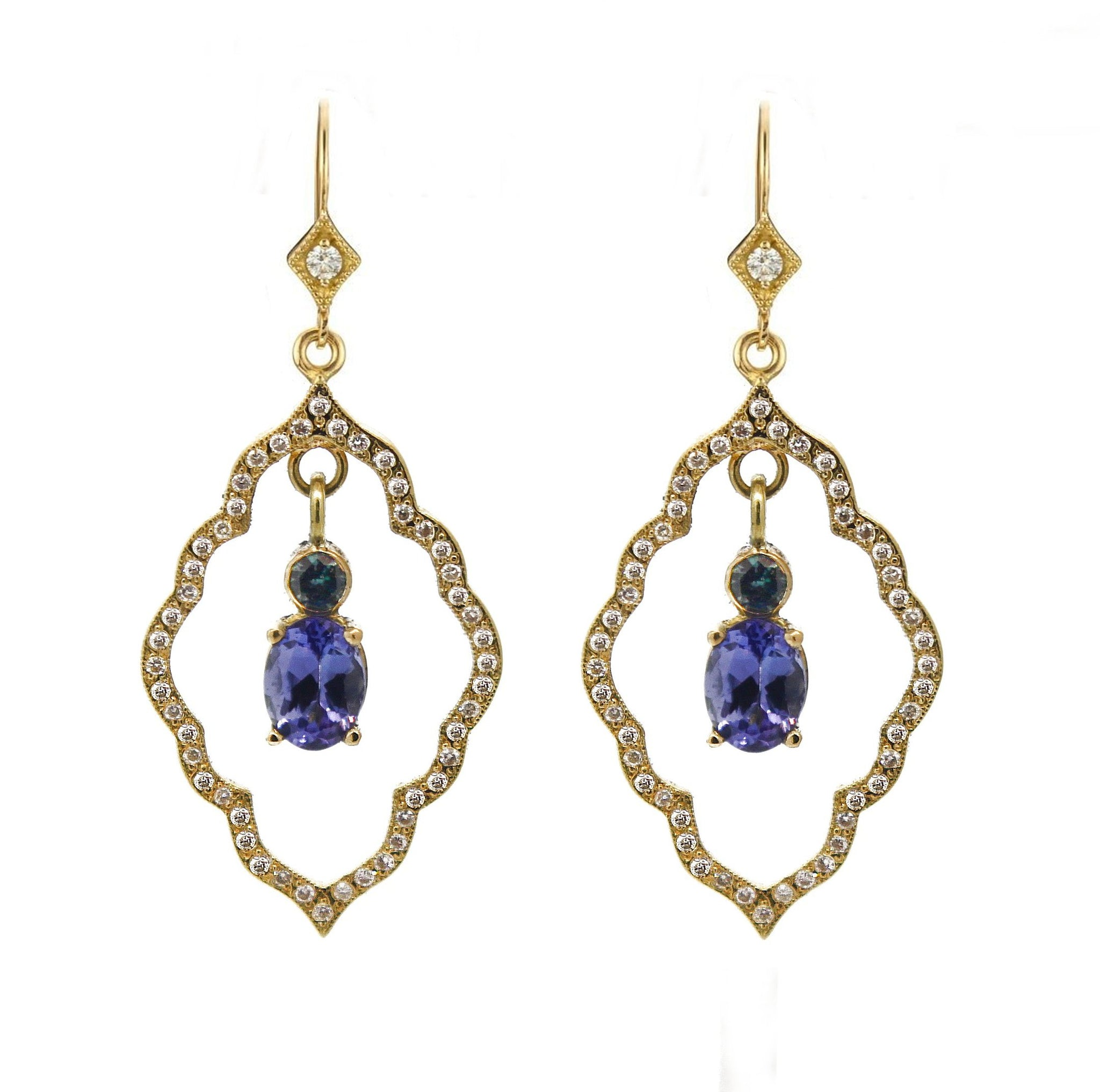 gold earrings with tanzanite in white tw diamond halo