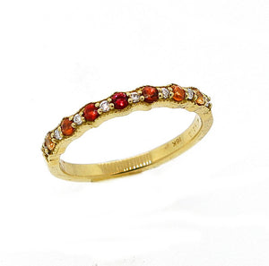 Ombré Half Band Stacking Ring- Sunset