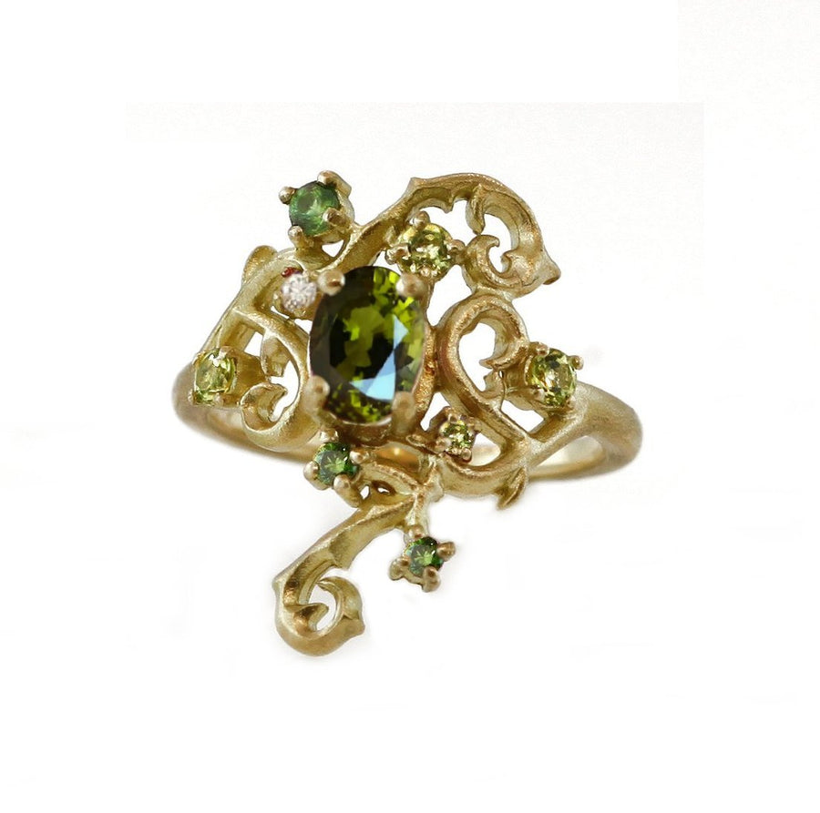 Green Tourmaline Tendril Ring