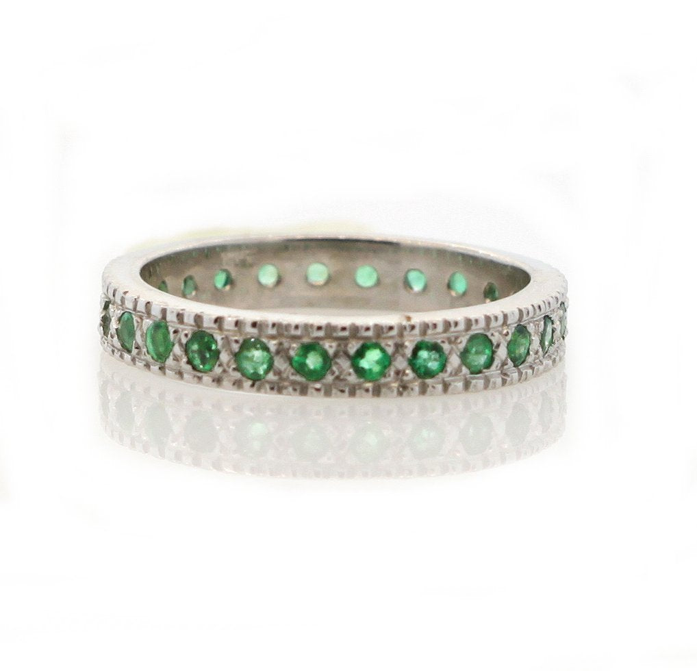 18k Emerald Eternity Band