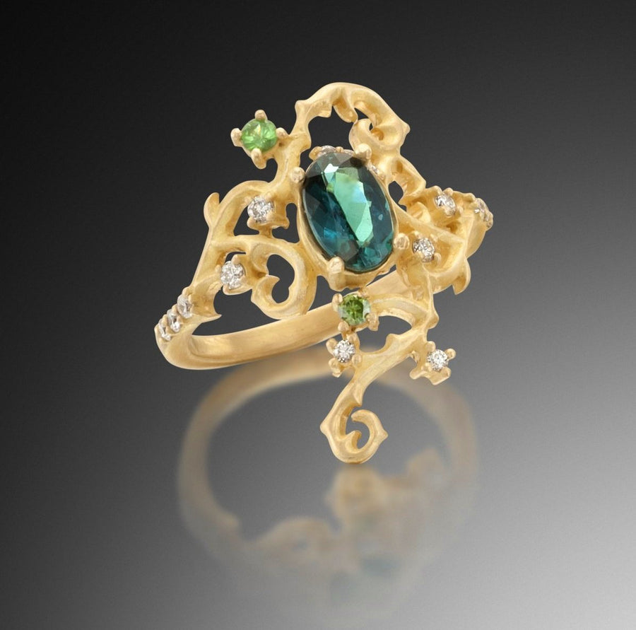 Indicolite Tourmaline Tendril Ring