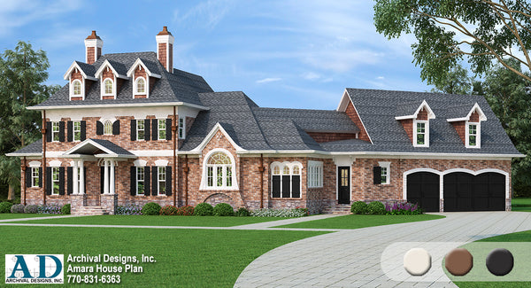 Amara traditional european house plan archival designs architecture