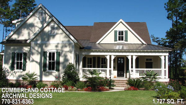 Cumberland cottage house lan archival designs southern architectural style