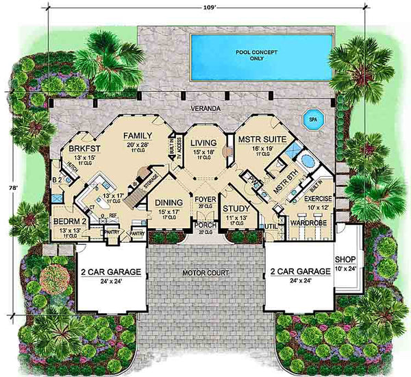 Katheko House | Tuscan Floor Plans | Courtyard Floor Plans