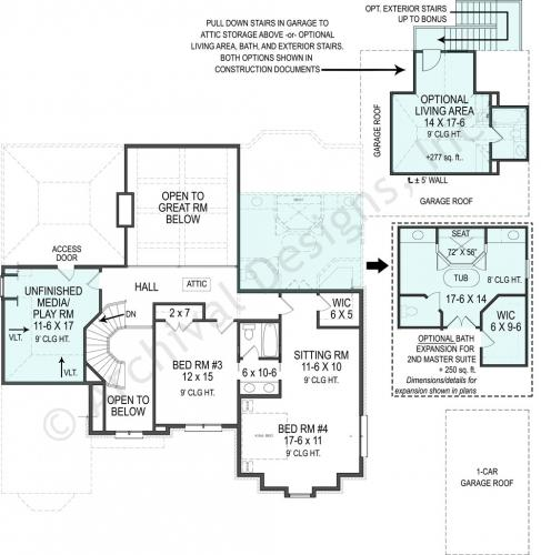 Lily Rose House Plan- 3,330 sq. ft. with 4 bedrooms and 3 bathrooms. Also featuring a 2nd Master bedroom on the 2nd floor!