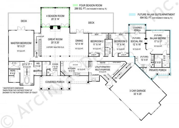 The Pepperwood is 2,878 with 3 bedrooms and 2 1/2 bathrooms