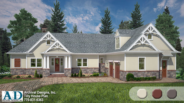 Tilly ranch house plan traditional archival designs architecture home style