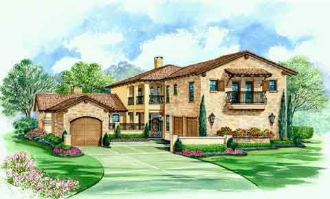 Villa Palladian | Tuscan Floor Plan | Courtyard Floor Plans