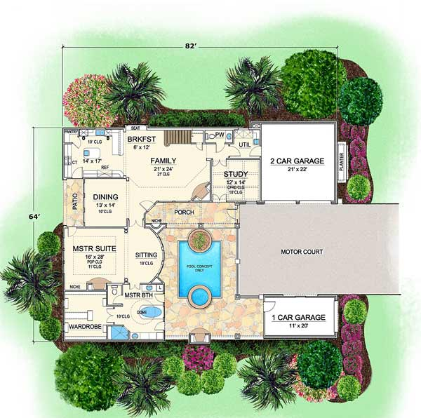 Villa Palladian | Tuscan Floor Plans | Courtyard House Plan