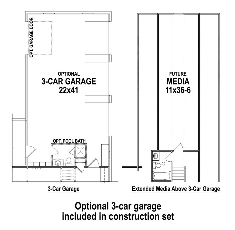 3-Car Garage Floor Plan | Acorn Trail Farmhouse Plan