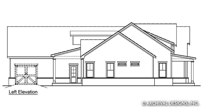 Left Elevation | Acorn Trail Farmhouse Plan