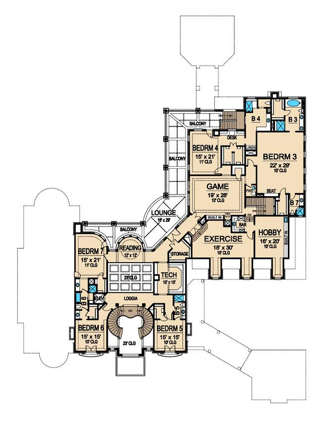 Second Floor Plan, Bellerive House Plan