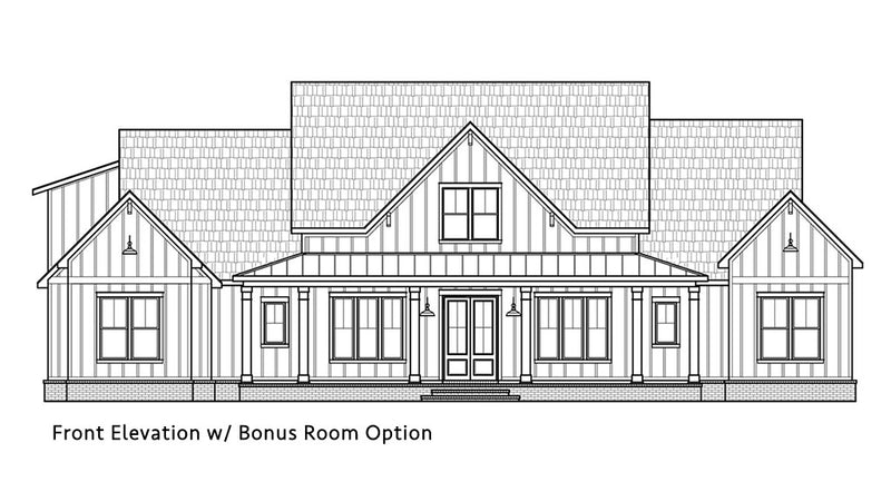 Black Creek Farmhouse | Front Elevation w/ Bonus Option