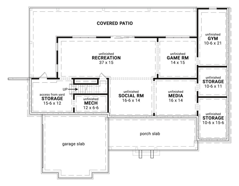 Blueberry Ranch House | Basement Floor Plan