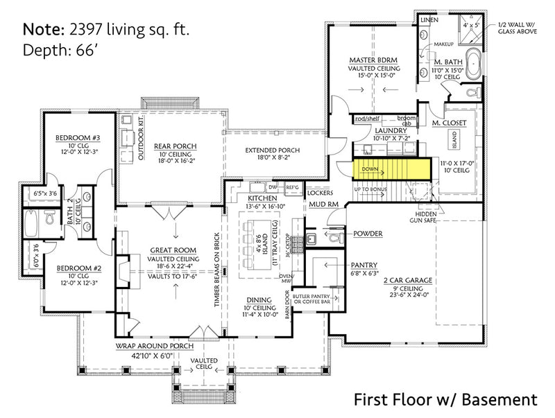Cottageville House | First Floor Plan w/ Basement