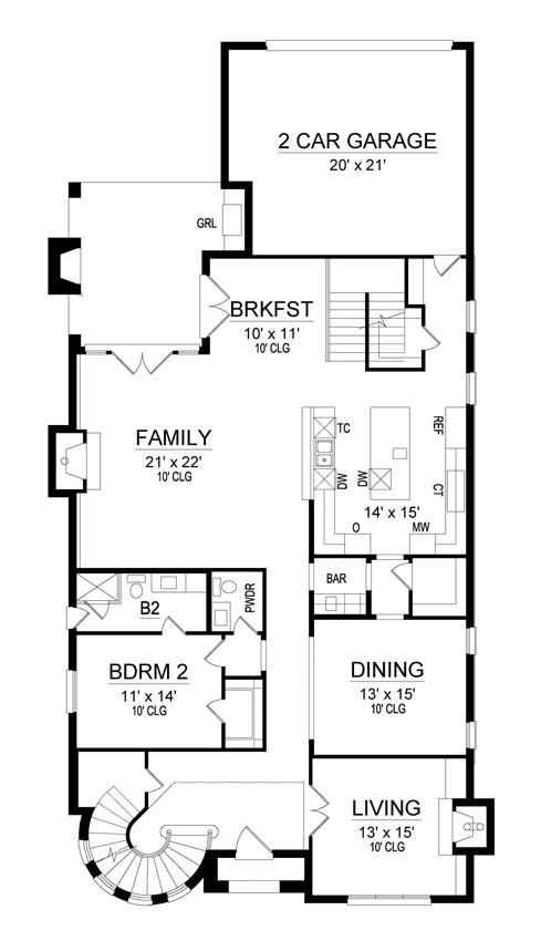 First Floor Plan | El Sol Narrow House Plan
