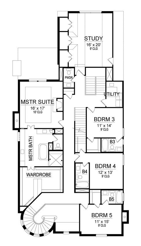 Second Floor Plan | El Sol Narrow House Plan