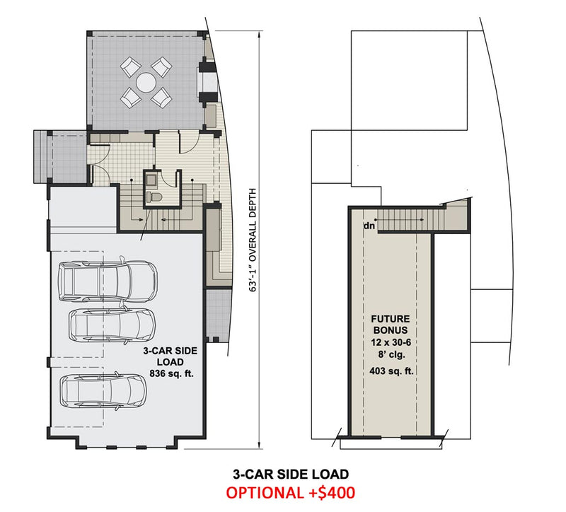 Emarie May Farmhouse | 3-Car Side Load Floor Plan