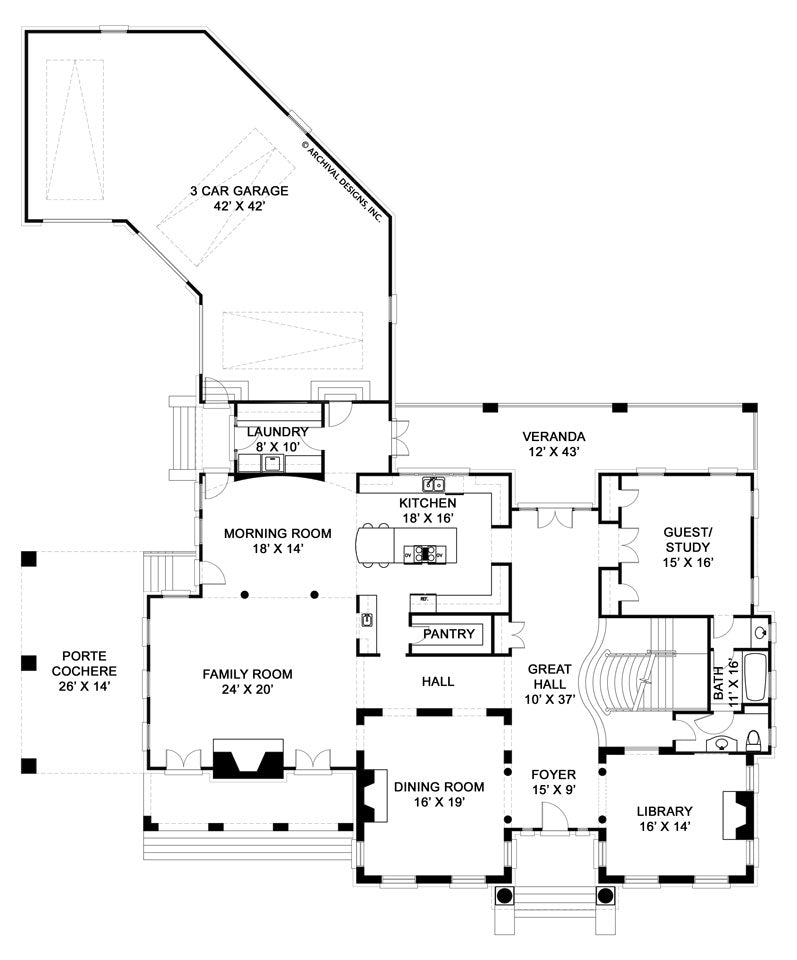 English House first floor, floor plan