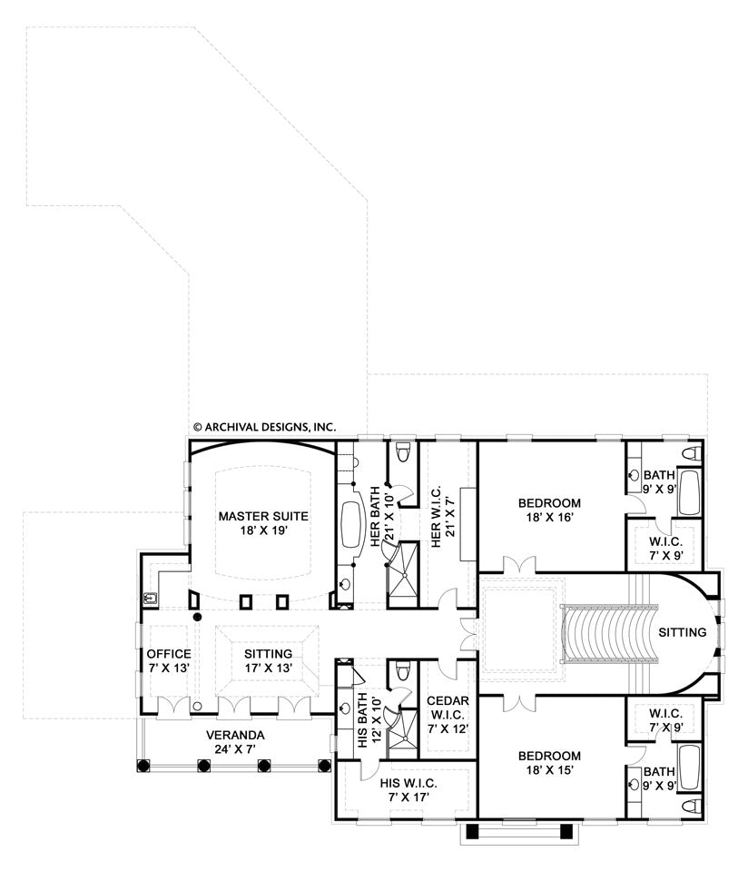 Master bedroom plan and elevation