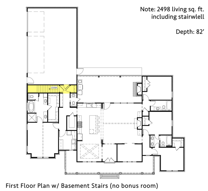 Black Creek Farmhouse | First Floor Plan w/ Basement Option (no bonus)
