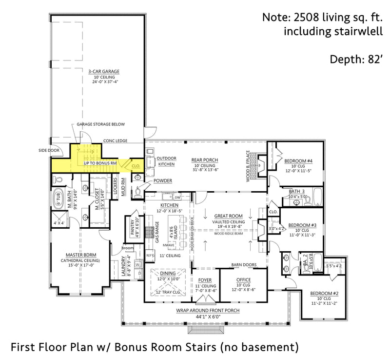 Black Creek Farmhouse | First Floor Plan w/ Bonus (no basement)