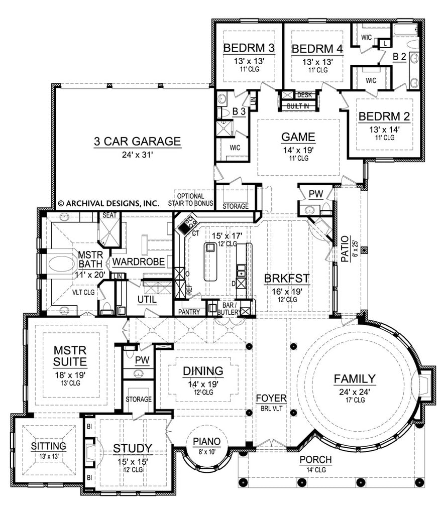 Gray Stone Ranch House Plans Luxury House Plans Archival Designs