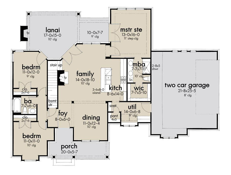 First Floor Plan | High Meadow Cabin House Plan