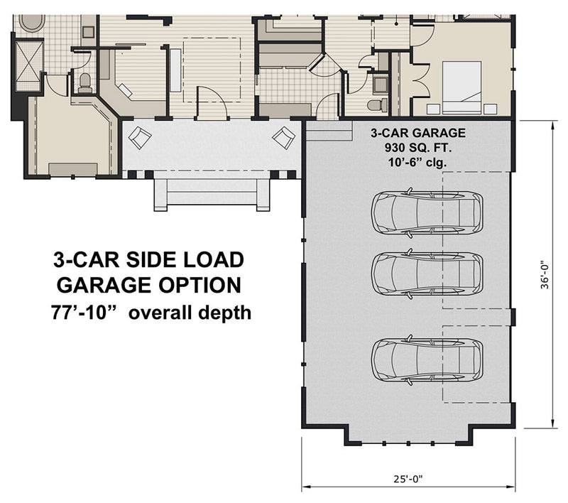 Ivory Farm, first floor plan, opt. 3-car garage