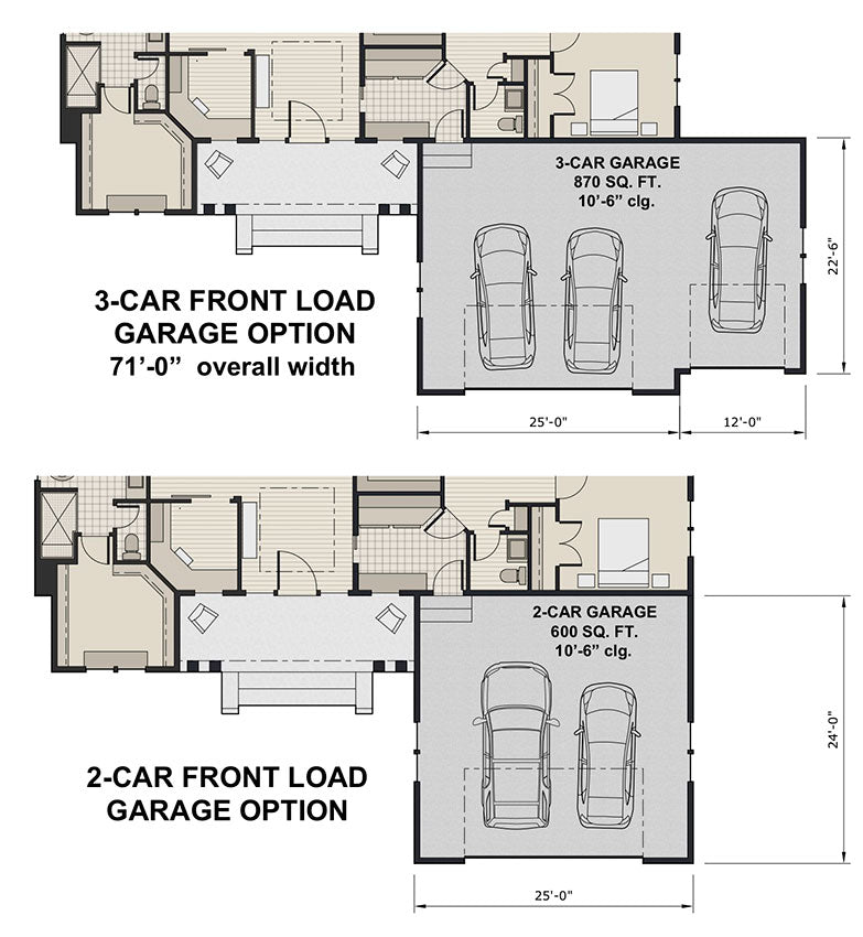 Ivory Farm, first floor plan, opt. front load 2- and 3-car garages