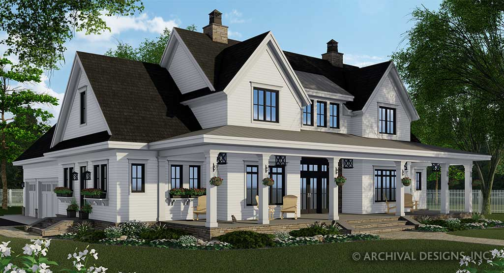 Silverbell Ranch House Plan Modern Farmhouse Two Story Home Plan Archival Designs