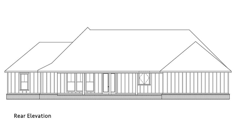 Palmetto Farmhouse | Rear Elevation
