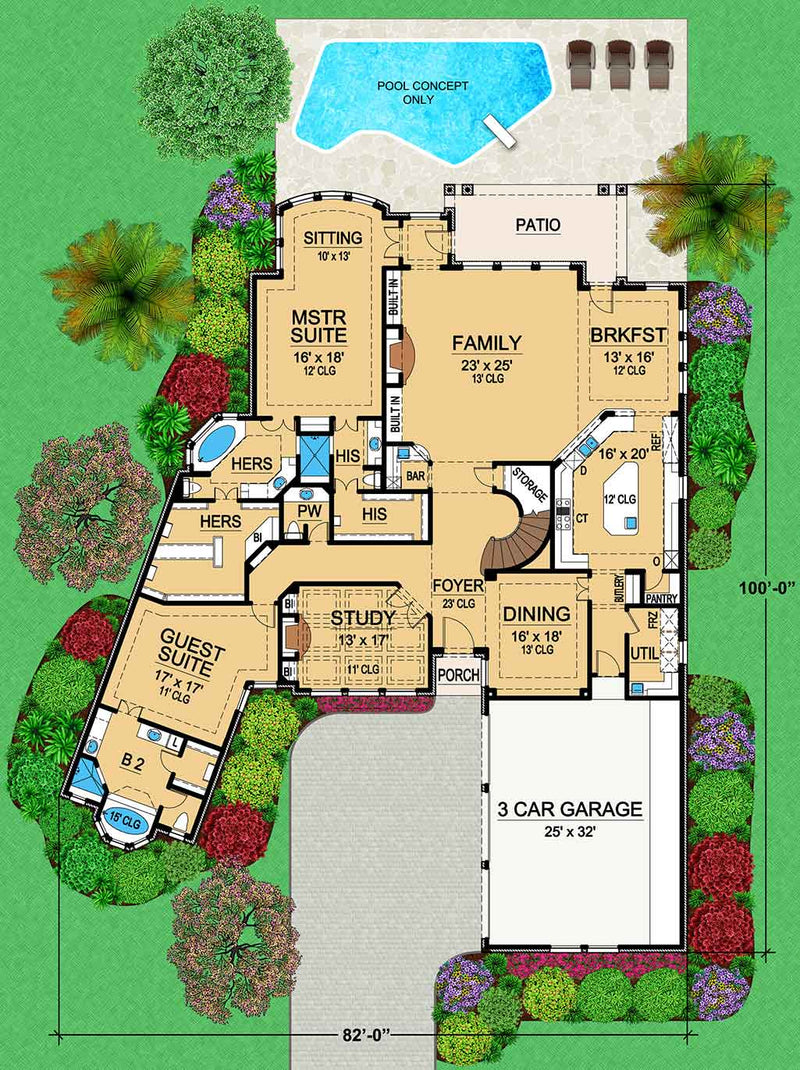 Pine Forest first floor, floor plan