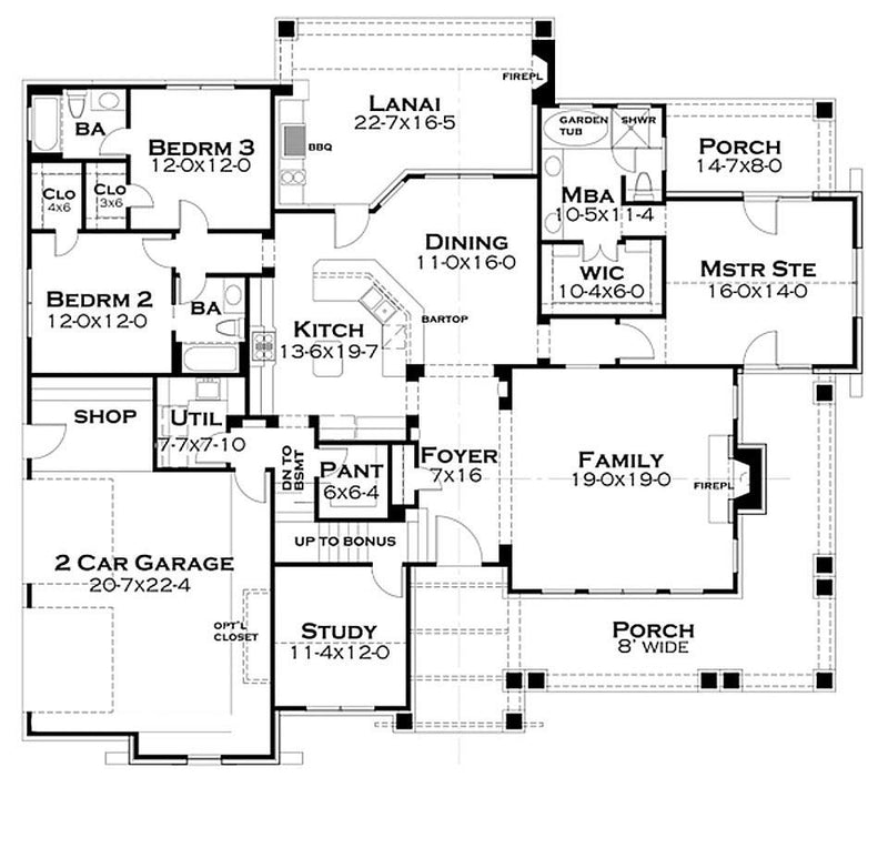 Pleasant Cove first floor plan