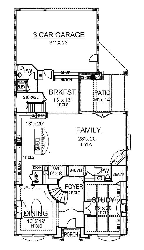 Potomac House Plan - First Floor Plan