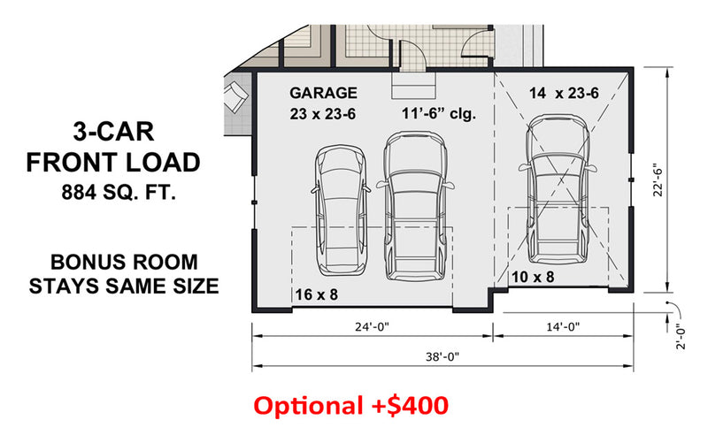 Rock Creek House | Optional 3-Car Front Load Floor Plan