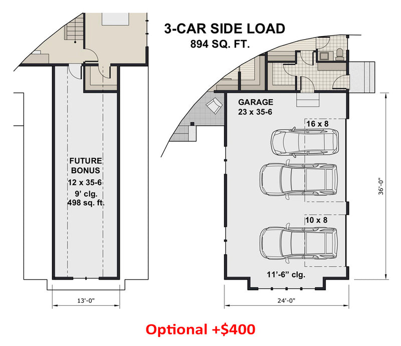 Rock Creek House | Optional 3-Car Side Load Floor Plan